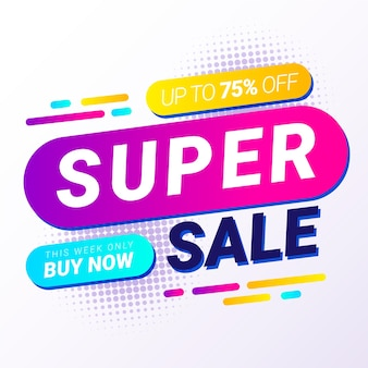 Abstract colorful super sale banner
