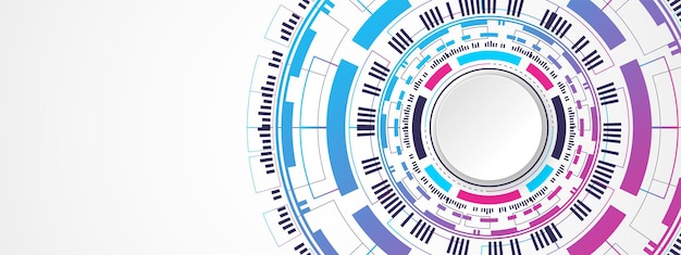 Abstract colorful technology background white circle banner on digital circle and circuit board