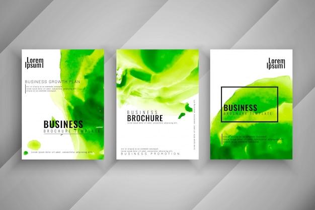 抽象的なカラフルな3つのビジネスのパンフレットセット