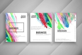 Abstract colorful three modern buisness brochure set