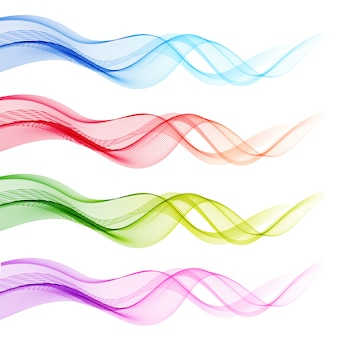 Abstract colorful transparent waves set