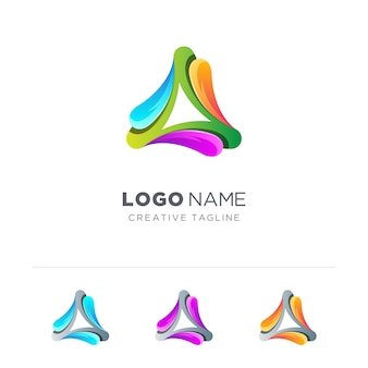 Abstract colorful triangle logo variation