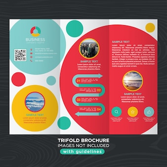 Abstract colorful trifold design template