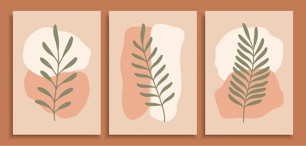 Абстрактная красочная различная органическая конструкция предпосылки печати искусства формы. современное искусство старинные модные рисованной листья плакат для обоев, наклейки, чехол, украшения, отделка стен