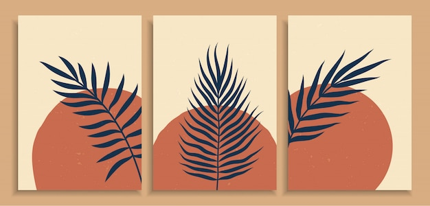 Abstract colorful various organic shape art print background design . contemporary art vintage trendy hand drawn leaves