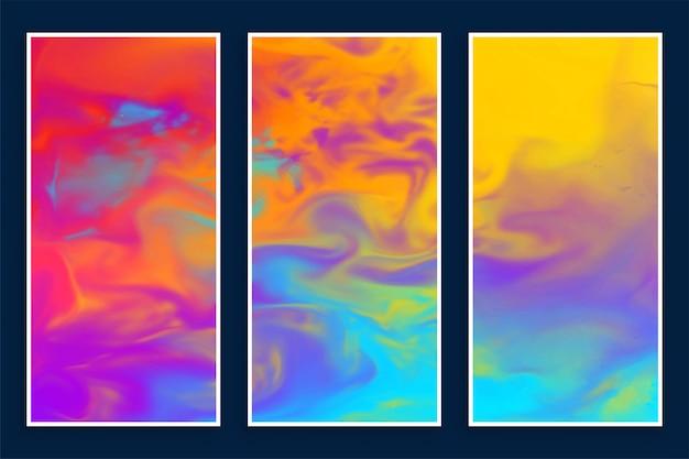 3つの抽象的なカラフルな水彩バナーセット