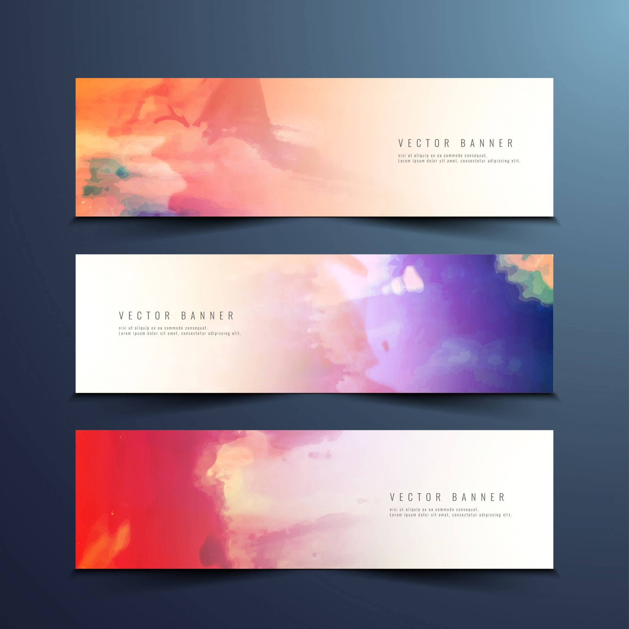 Abstract colorful watercolor banners