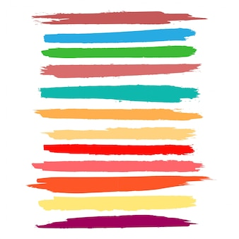 Abstract colorful watercolor hand draw stroke set