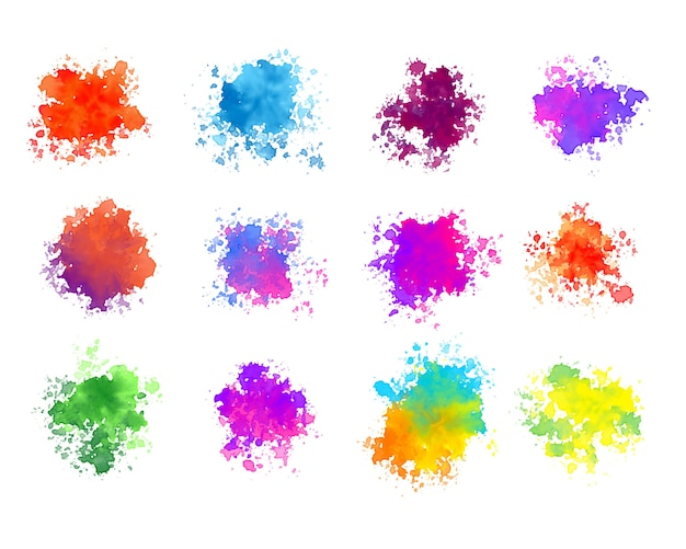 Abstract colorful watercolor splatters set of twelve
