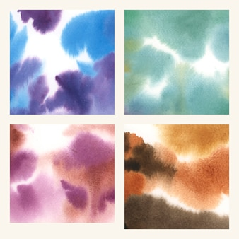 Abstract colorful watercolor stain texture set