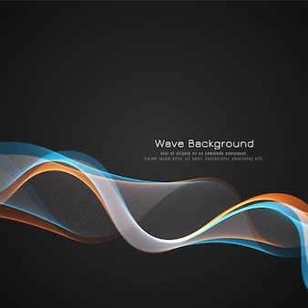 Abstract colorful wave dark background design