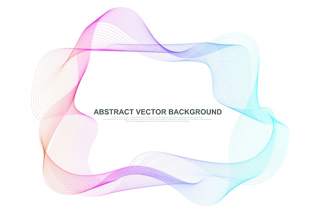 Abstract colorful wave lines background. circular wireframe mesh frame