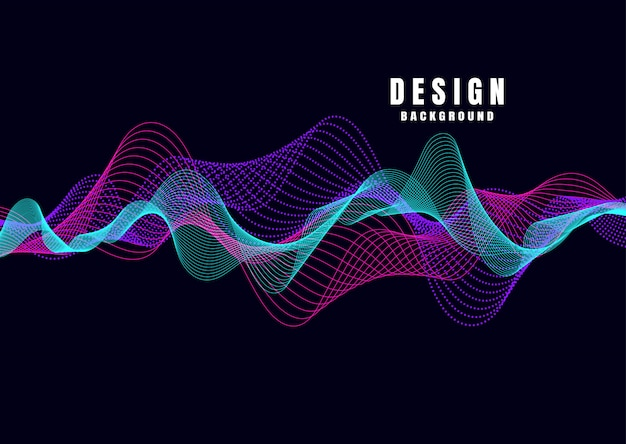 Abstract colorful wave lines on background for elements