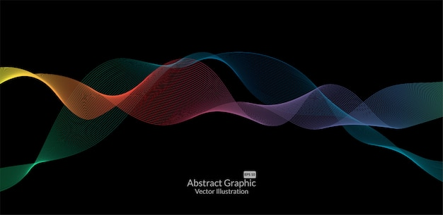 Abstract colorful wave lines on black background