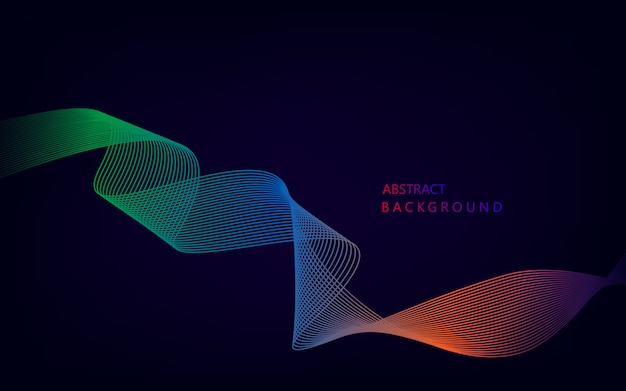 Abstract colorful wave lines on black for elements in concept business presentation