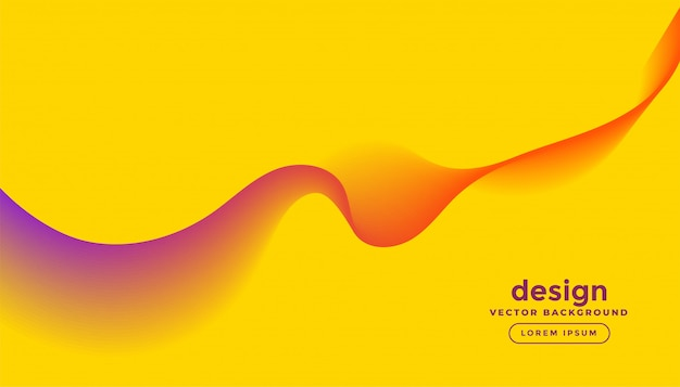 Абстрактные красочные волны линии в желтом фоне дизайна