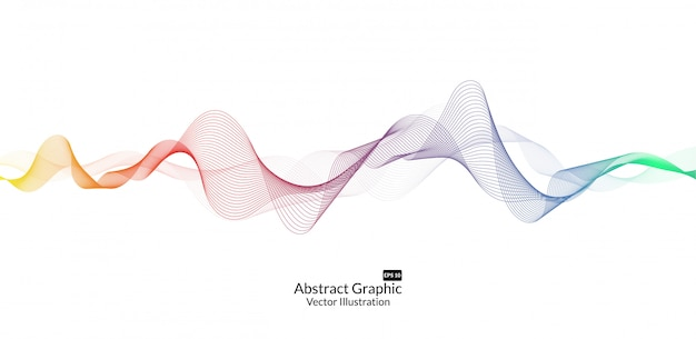 Abstract colorful wave lines on white background