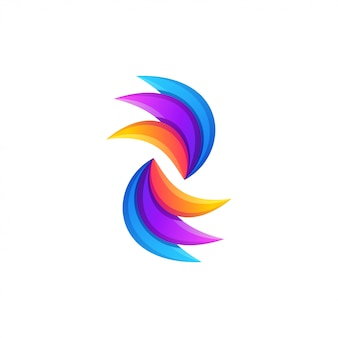 Abstract colorful wave logo design