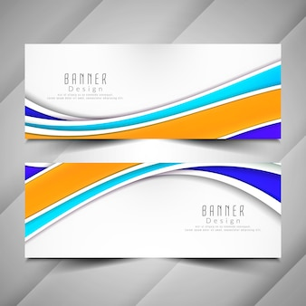 Abstract colorful wavy banners set