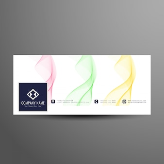 Abstract colorful wavy facebook timeline banner