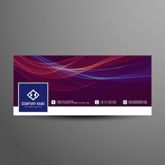 Abstract colorful wavy facebook timeline cover template