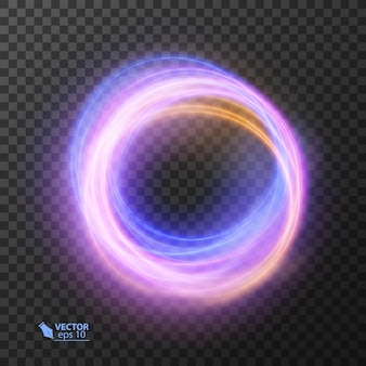 Abstract colorful wavy lines of light on dark background
