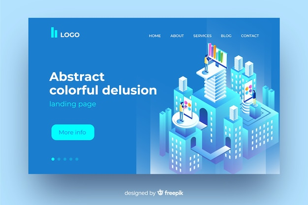 Abstract colourful delusion concept landing page