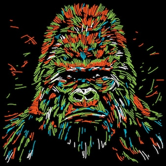 Abstract colourful gorilla illustration
