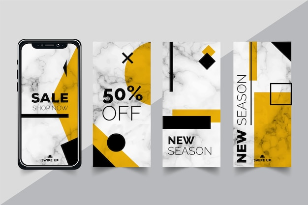 Abstract colourful instagram sale stories in marble style
