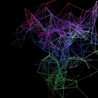 연결 선과 점 디자인으로 추상 통신 배경