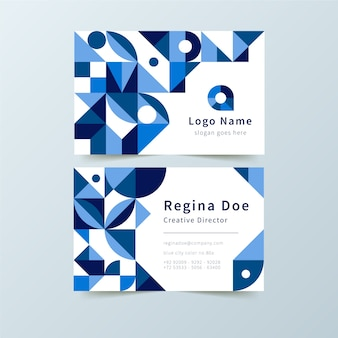 Abstract company card with blue shapes