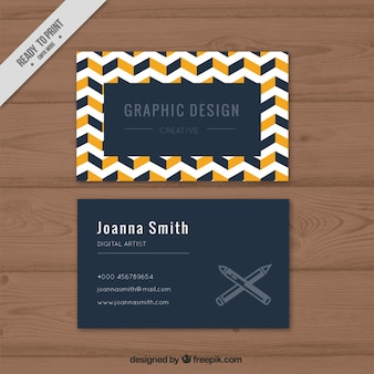 Abstract company card with white zig-zag lines