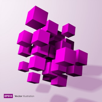 Abstract composition of 3d purple cubes. vector