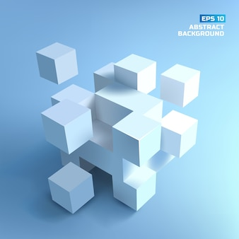 Abstract composition from white  cubes with shadows on blue grey background