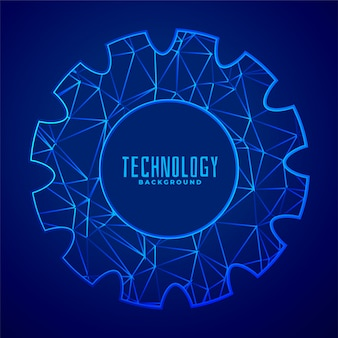 Abstract composition of gear wheel in low poly style