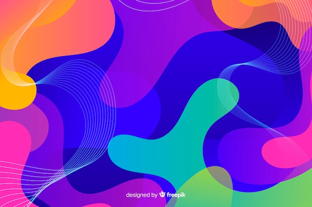 Abstract composition of gradient liquid shapes background