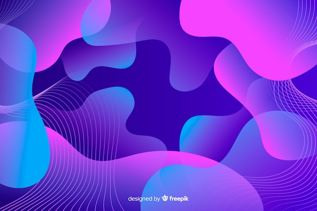 Abstract composition of violet gradient liquid shapes background