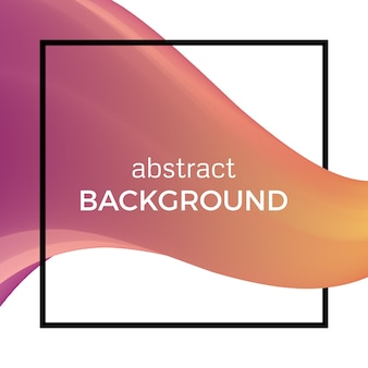 Abstract composition of the watercolor wave in black square. colorful background with bent dynamic form. vector illustration.
