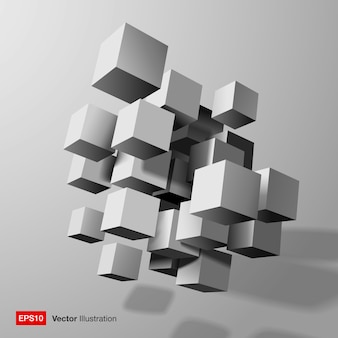 Abstract composition of white 3d cubes.  illustration