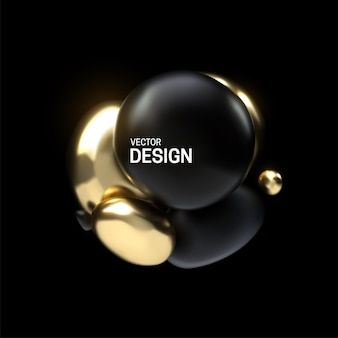 Abstract composition with 3d black and golden spheres cluster
