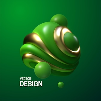 Абстрактная композиция с 3d зелеными и золотыми глянцевыми пузырями