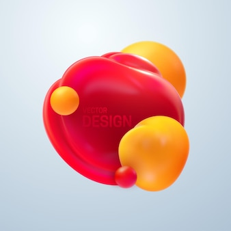 Abstract composition with 3d soft bubbles cluster