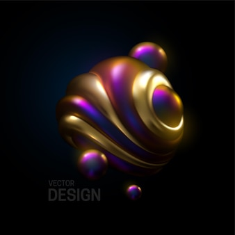 Abstract composition with 3d spherical bubbles