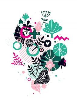 Abstract composition with floral hand drawn elements