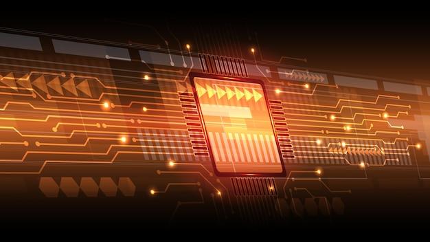 抽象コンピュータマイクロプロセッサ回路基板の背景。