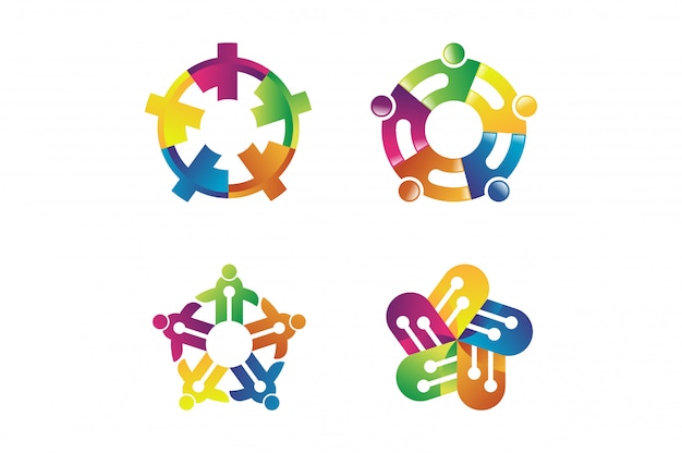 Abstract concept for colorful community people logo. people community symbol