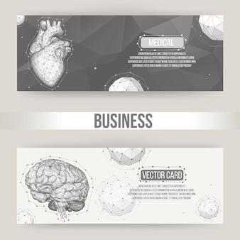 人間の脳と心臓の抽象的な概念ベクトル背景多角形スタイルイラスト