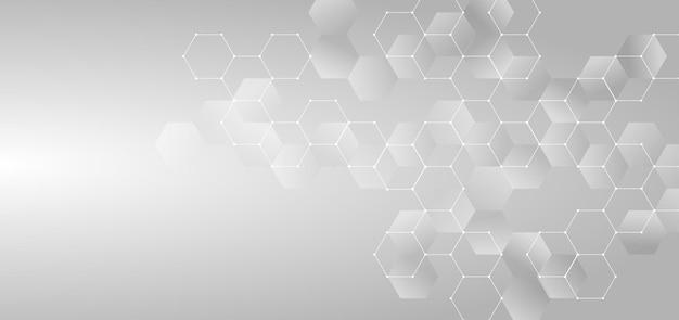 추상적 인 개념, 흰색과 회색 빛나는 육각형.