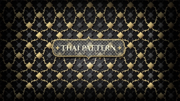 Abstract connecting black and gold thai pattern