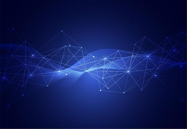 幾何学的な背景を持つ抽象的な接続ドットと線。現代の技術接続科学、多角形構造の背景。ベクトルイラスト
